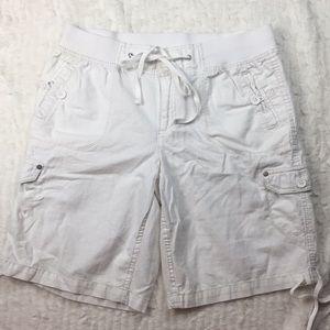 Pants - White Utility Shorts